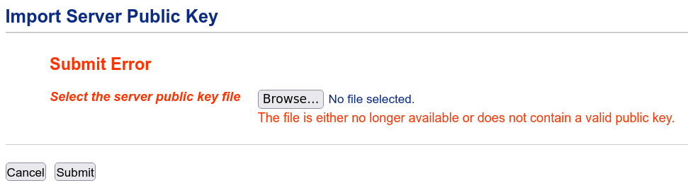 The file is either no longer available or does not contain a valid public key.